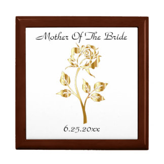 Gold Rose Mother Of The Bride/Groom Memento Box Large Square Gift Box