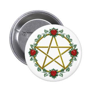 Gold Rose Pagan Pentagram Pentacle Button