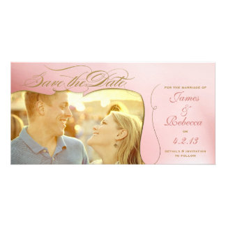 Gold & Rose Photo Save the Date Announcement Photo Card