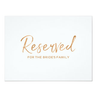 "Gold Rose ""Reserved"" for Family Wedding Sign Card"