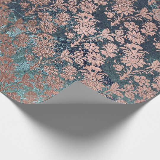 Gold Rose Royal Chic Teal Blush Metallic Floral