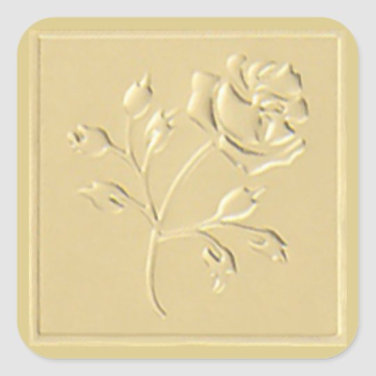 Gold Rose Square Sticker