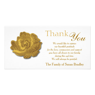 Gold Rose Tapestry Sympathy Thank You custom stamp Custom Photo Card