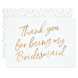 "Gold Rose ""Thank you for being bridesmaid"" Card"