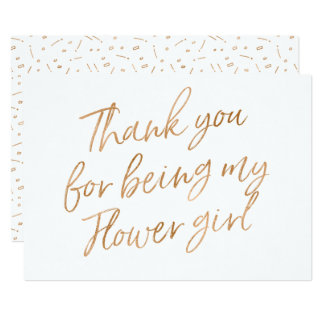 "Gold Rose ""Thank you for being my flower girl"" Card"