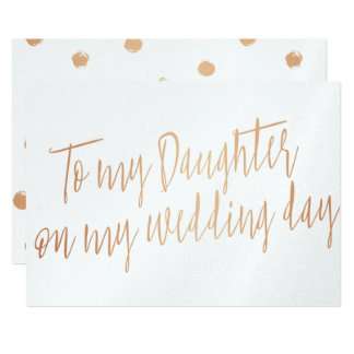 "Gold Rose ""To my daughter on my wedding day"" 13 Cm X 18 Cm Invitation Card"