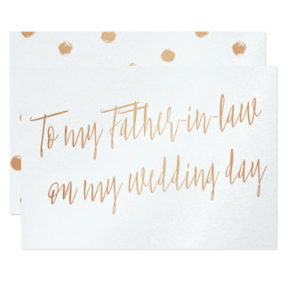 "Gold Rose ""To my father-in-law on my wedding day"" 13 Cm X 18 Cm Invitation Card"