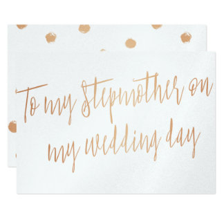 """Gold Rose """"To my stepmother on my wedding day"""" Card"""
