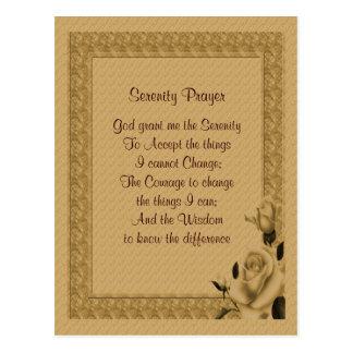 Gold Rosebuds Serenity Prayer Postcard