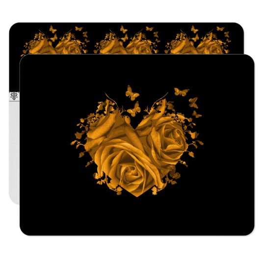 Gold Roses and Hearts Wedding RSVP Card