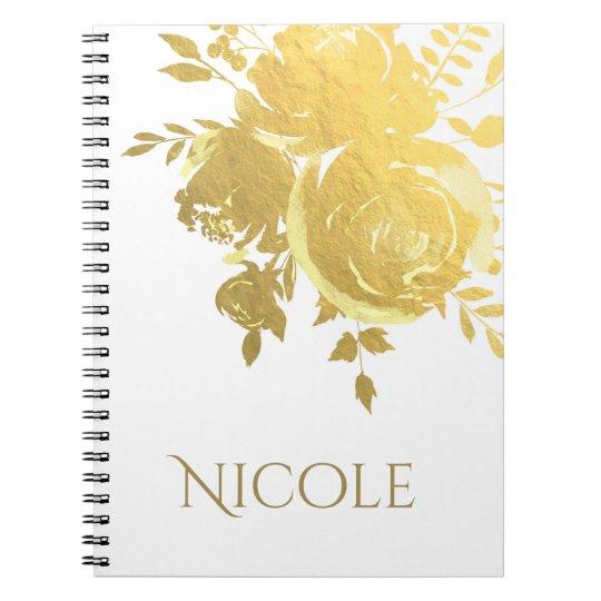 Gold Roses Faux Foil Elegant Modern Floral Glam