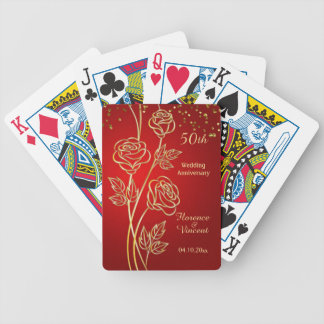 Gold roses on red 50th Anniversary Bicycle Playing Cards
