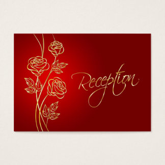 Gold roses on red Wedding Reception Business Card