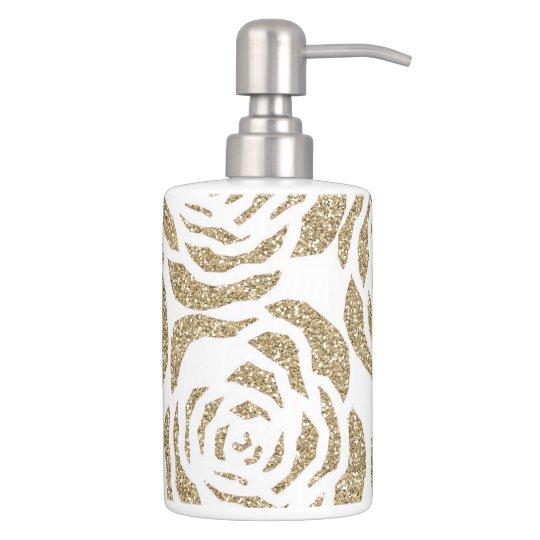 Gold Roses Toothbrush Holder/Soap Dispenser Set