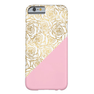 Gold Roses with Pink Barely There iPhone 6 Case
