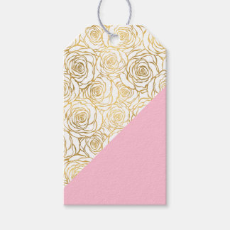 Gold Roses with Pink Gift Tags