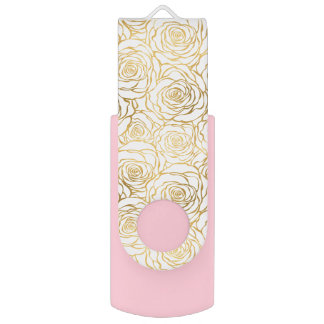 Gold Roses with Pink USB Flash Drive