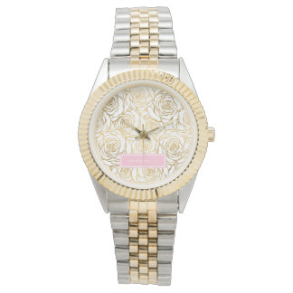 Gold Roses with Pink Watch