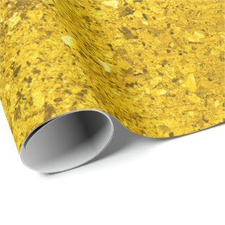 Gold Rough Metallic Abstract Glitter Effect VIP Wrapping Paper