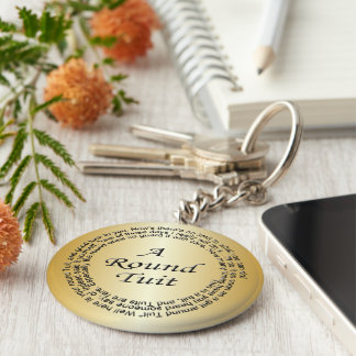 Gold Round Tuit Basic Round Button Key Ring