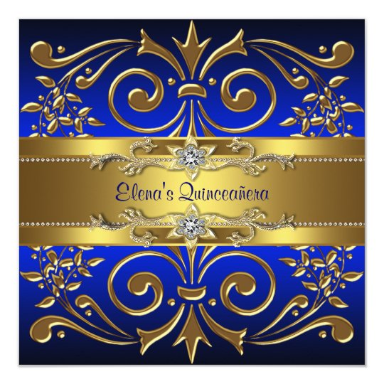 Gold Royal Blue Quinceanera Invitations