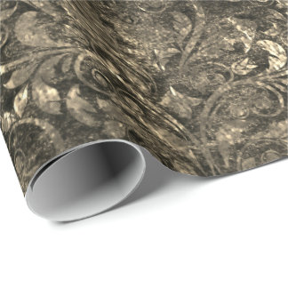 Gold Royal Damask Black Crushed  Velvet Sepia Faux Wrapping Paper