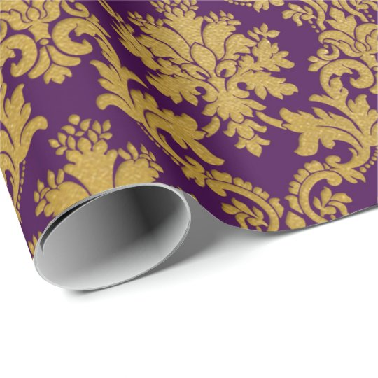 Gold Royal Damask Floral Purple Plum Baroque Wrapping