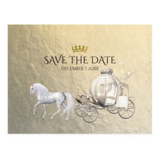 Gold Royal Princess Storybook Carriage Save Date Postcard