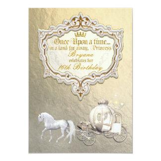 Gold Royal Princess Storybook Carriage & Unicorn Card