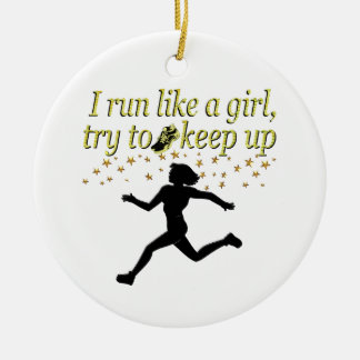 GOLD RUN LIKE A CHAMPION TRACK AND FIELD DESIGN CHRISTMAS ORNAMENT