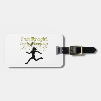 GOLD RUN LIKE A CHAMPION TRACK AND FIELD DESIGN LUGGAGE TAG