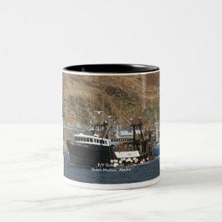 Gold Rush, Fishing Trawler in Dutch Harbor, AK Two-Tone Coffee Mug