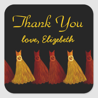 Gold Rust Bridesmaids Thank You Bridal Shower A01 Square Sticker
