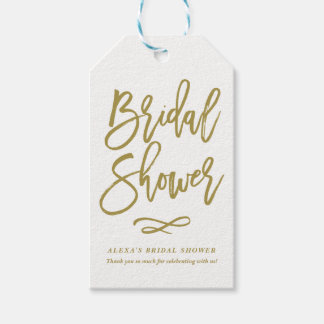 Gold Rustic Hand Lettering Bridal Shower Gift Tag