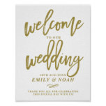 Gold Rustic Hand Lettering Welcome to Our Wedding Poster