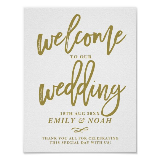 Gold Rustic Hand Lettering Welcome to Our Wedding