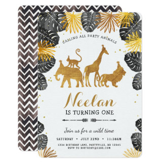 Gold Safari Birthday Invitation