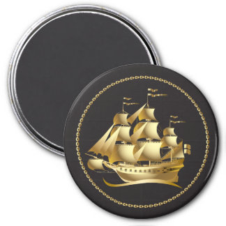 Gold Sailboat Nautical 7.5 Cm Round Magnet