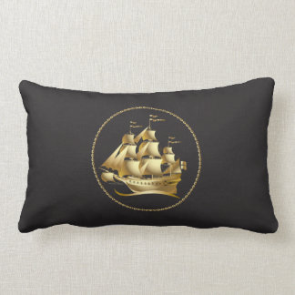 Gold Sailboat Nautical Men's Lumbar Cushion