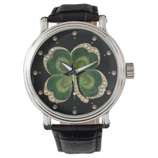Gold Saint Patrick Shamrock Jewel with Pearls Wrist Watches