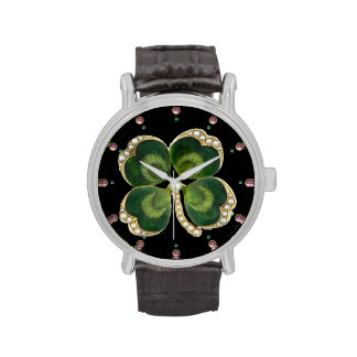Gold Saint Patrick Shamrock Jewel with Pearls Wristwatches