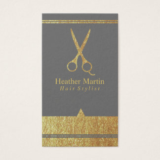 Gold Salon Hair Stylist Appointment Cards in Grey