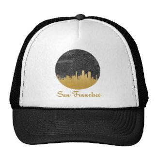 Gold San Francisco City Skyline Map Cap