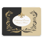 Gold Sand and Black Fleur de Lis Wedding Event Custom Invite