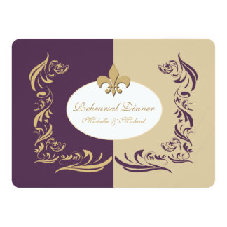 Gold Sand and Purple Fleur de Lis Wedding Event Card