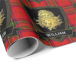Gold Santa Stewart Tartan Wrapping Paper