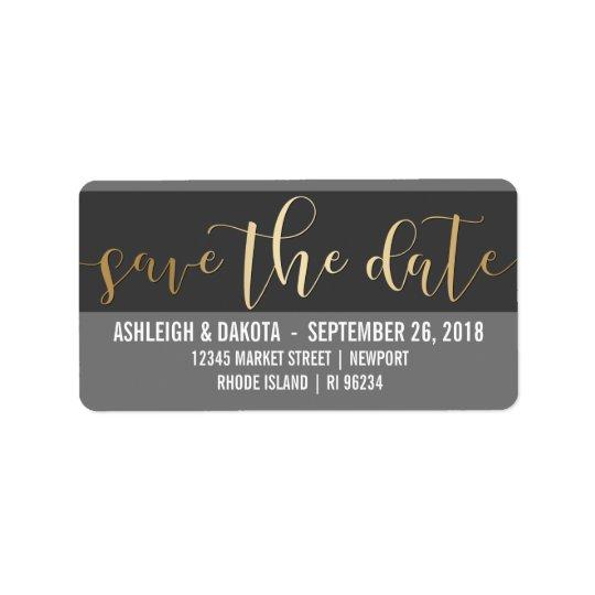 Gold Save The Date Script | Black & White Photo Address Label