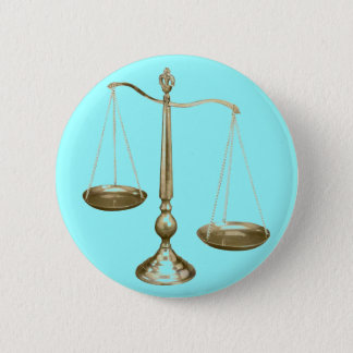 gold scales of justice 6 cm round badge