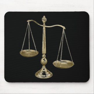 gold scales of justice mouse mat