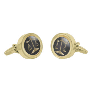Gold Scales of Justice on Classic Black | Lawyer Gold Finish Cufflinks